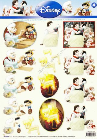 Disney Classic Films 4 Snow White, Pinocchio and Peter Pan 3d Decoupage Sheet